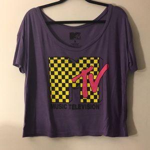 NWOT purple mtv checkered tee